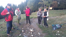 <p>La première pause. Guy, Myriam, Marie-Noëlle, Rose-Marie et Hlène</p>